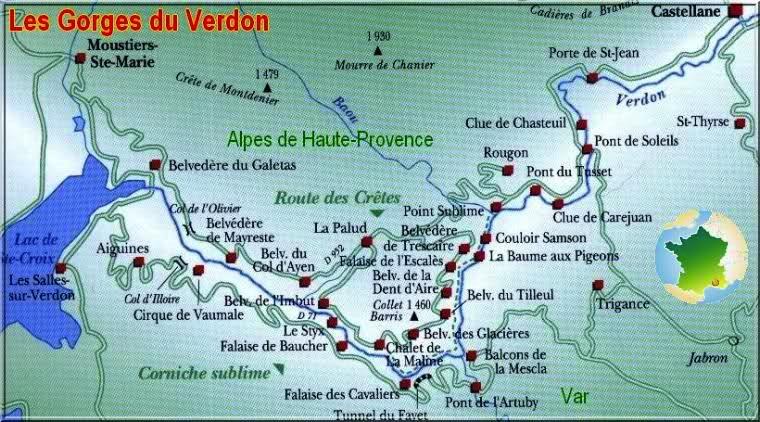 Plano alrededores Gargantas del Verdon