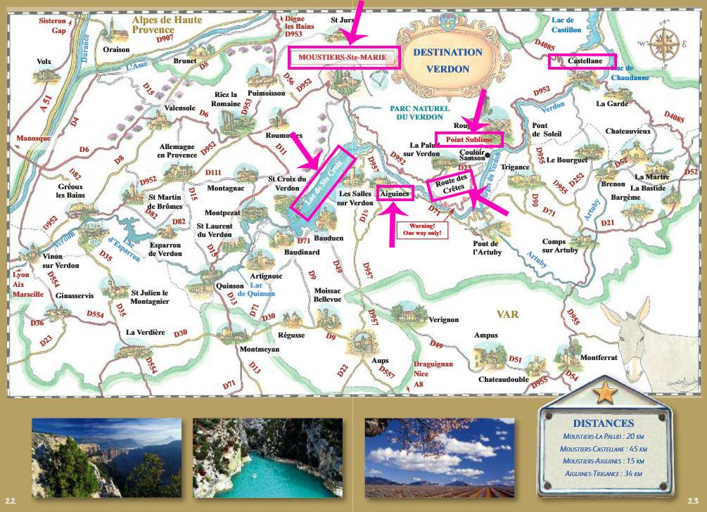 Plano pueblos Parque Natural de Verdon